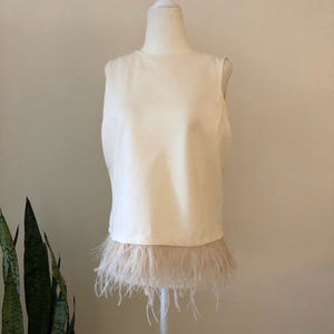 Anthropologie W5 Off White Feather top, SZ Large